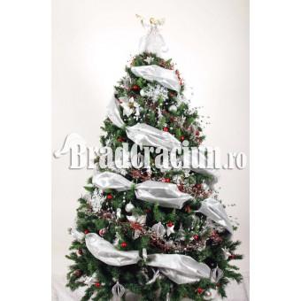 """Brad de Craciun 210 cm -""""ninsoare alb-rosie"""""""
