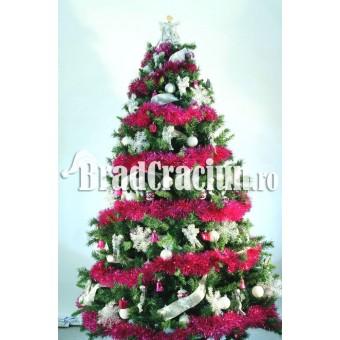 "Brad de Craciun 210 cm cu beteala ""zapada fuchsia"""