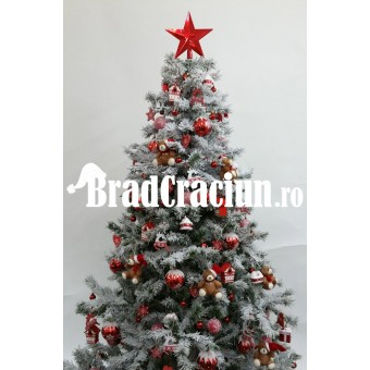 """Brad de Craciun 195 cm cu zapada """"casuta din poveste"""" (scandinav)"""