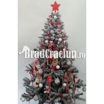 "Brad de Craciun 195 cm cu zapada ""Craciun scandinav"""