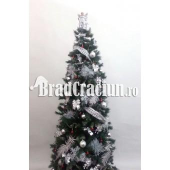 "Serie 9 buc. Brad de Craciun ingust 225 cm  ""Feriga de zapada rosu"""