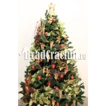 "Brad de Craciun 240 cm ""conuri si flori"""