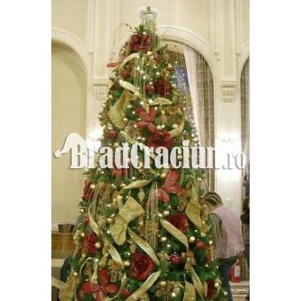"Brad de Craciun 340 cm ""eleganta rosie-aurie"""