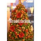 "Brad de Craciun 300 cm ""camp de trandafiri rosii"""