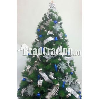 """Serie 6 buc. Brad de Craciun cu pin 240 cm  """"Feriga de zapada albastru"""""""