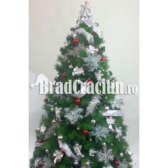 """Serie 6 buc. Brad de Craciun cu pin 240 cm  """"Feriga de zapada rosu"""""""