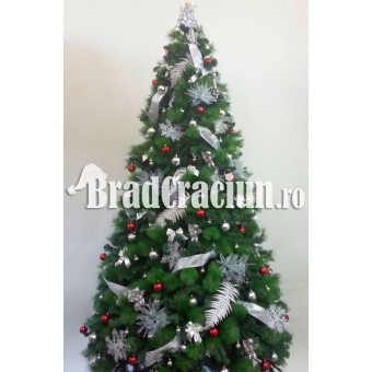 """Serie 6 buc. Brad de Craciun cu pin 300 cm  """"Feriga de zapada rosu"""""""